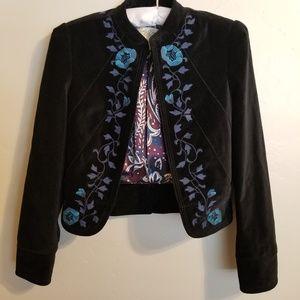 Lucky Brand Blazer Small Black Velvet Lined Boho